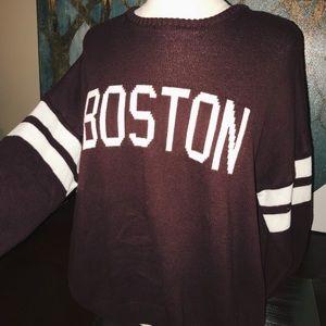 "BRANDY MELVILLE ""Boston"" Burgundy Knit Pullover"